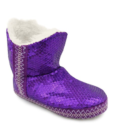 Purple Sequin Amira Boot - Kids