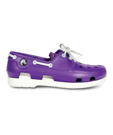 Neon Purple & White Patent Beach Line Boat Shoe