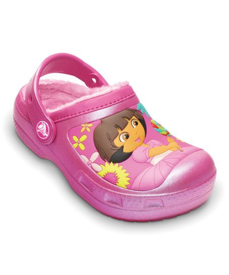 Fuchsia Creative Crocs Dora™ Lollipops & Flowers Lined Clog