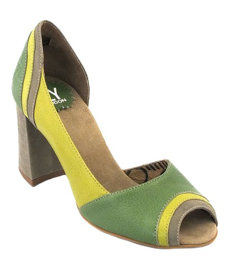 Khaki & Pistachio Leather Cate Pump