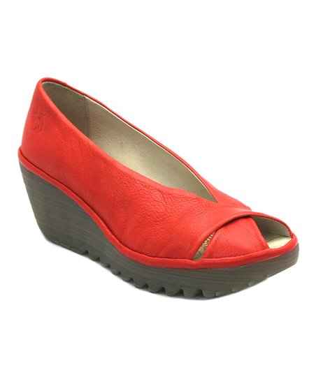 Devil Red Leather Yaff Wedge