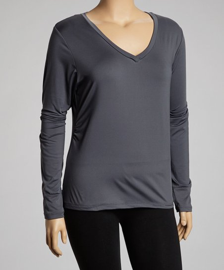 Gray Long-Sleeve V-Neck Top - Plus