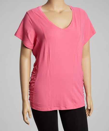Pink Ruched Slim V-Neck Top - Plus