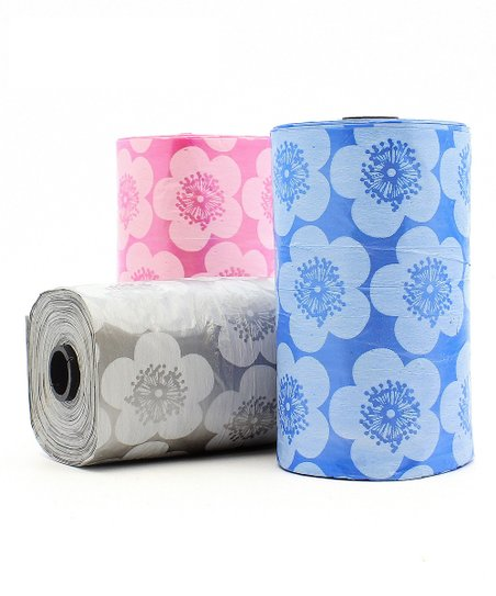 Pink & Blue Floral Dispenser Bag Roll Set
