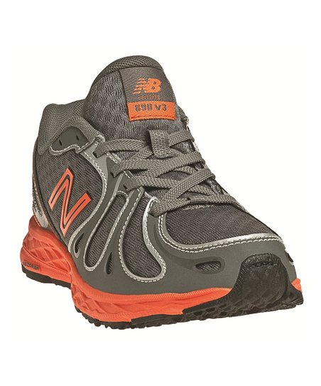 Gray & Orange Lace-Up KJ890 Running Shoe