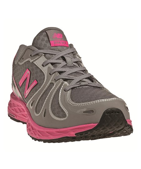 Gray & Pink Lace-Up KJ890 Running Shoe