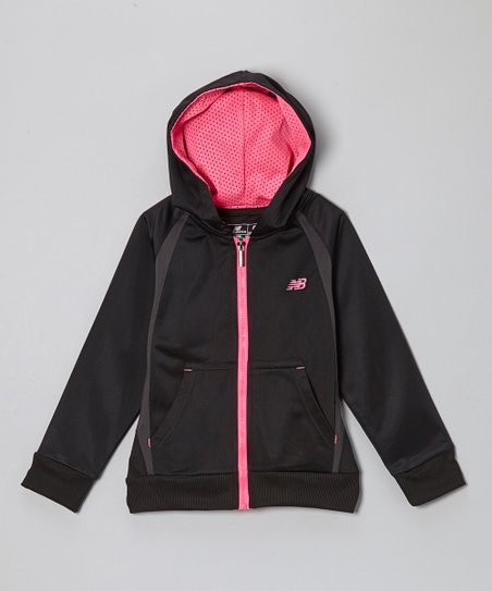 Black & Pink Zip-Up Hoodie - Girls