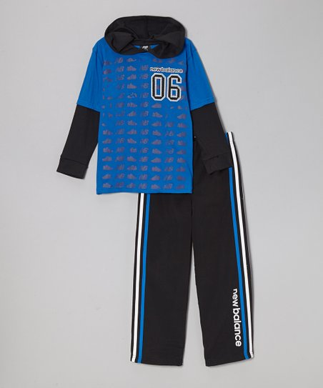Royal Blue & Black Hoodie & Track Pants - Infant & Boys