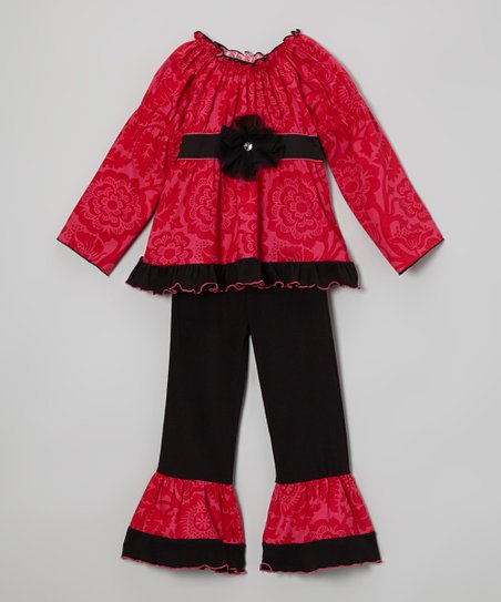 Pink & Black Deva Tunic & Ruffle Pants - Toddler & Girls
