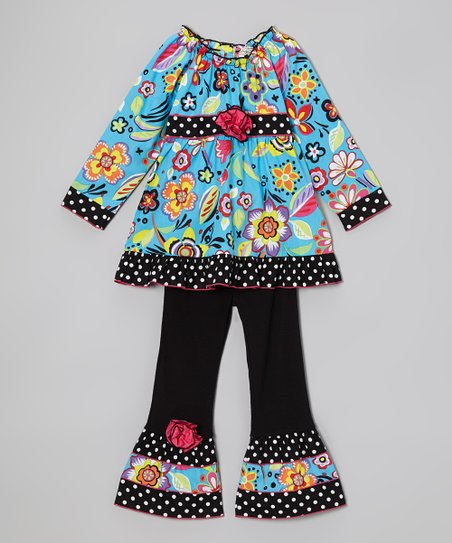 Aqua Blooming Floral Tunic & Ruffle Pants - Toddler & Girls