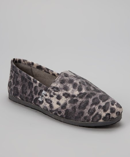 Gray Leopard Slip-On Shoe