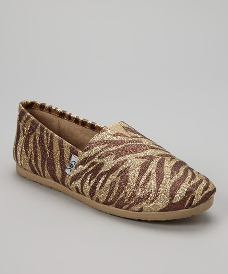 Tan Zebra Shimmer Slip-On Shoe