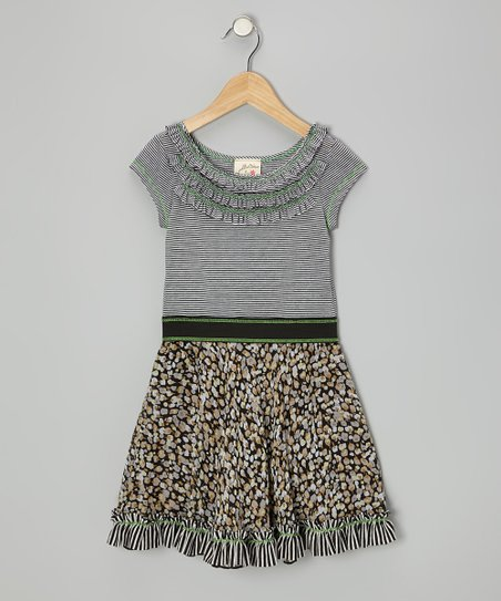 Black & White Ruffle Leopard Dress - Toddler & Girls
