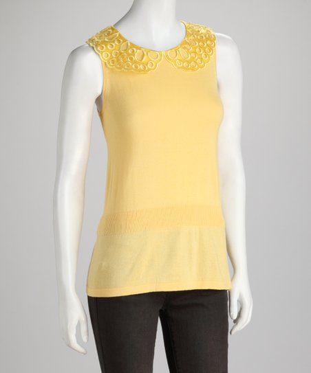 Yellow Ruffle Sleeveless Top