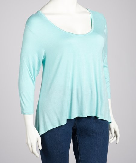 Mint Three-Quarter Sleeve Hi-Low Top - Plus