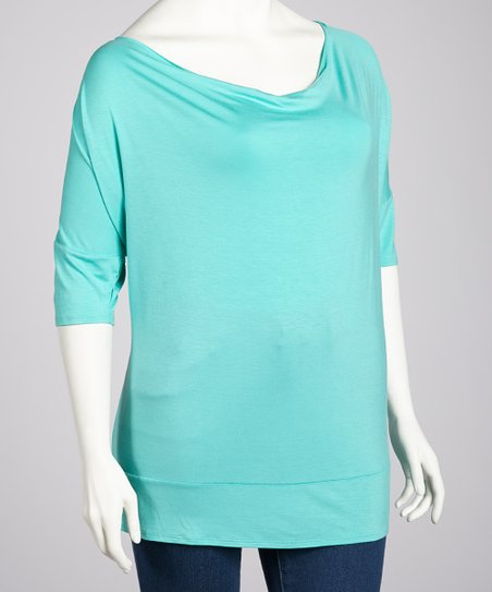 Seafoam Cowl Neck Top - Plus