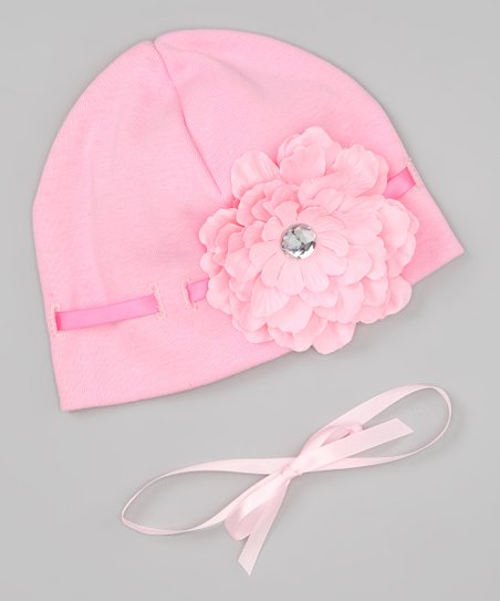 Pink Ribbon Flower Beanie