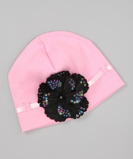 Pink & Black Ribbon Beanie