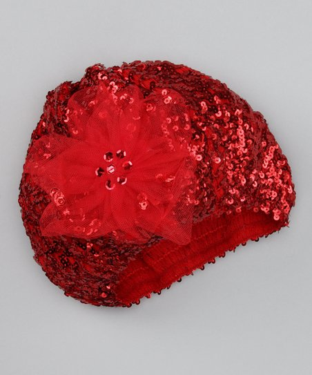 Red Sequin Flower Beret