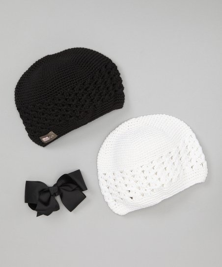 Black & White Crocheted Beanie