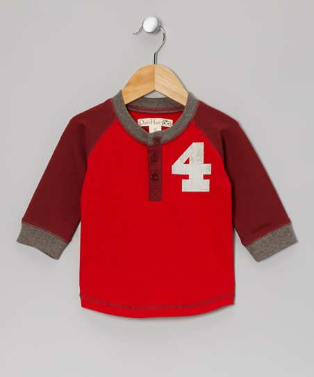 Red & Burgundy Baseball Raglan Tee - Toddler & Kids