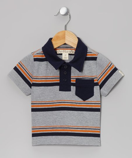 Gray & Navy Stripe Polo - Toddler & Kids