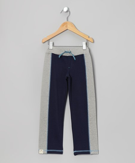 Navy & Light Gray Track Pants - Toddler & Kids