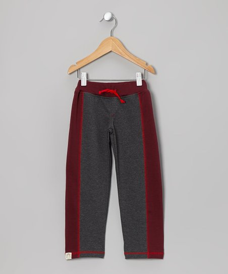 Dark Gray & Maroon Track Pants - Toddler & Kids