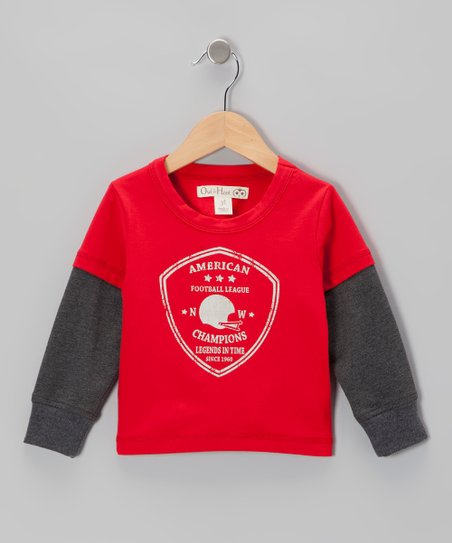 Red & Dark Gray 'Champions' Layered Tee - Toddler & Kids