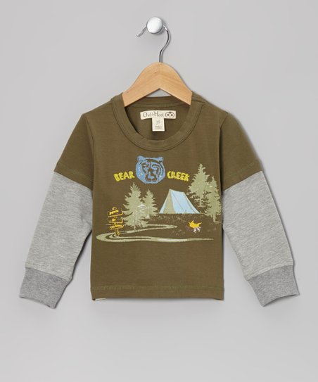 Army Green & Gray 'Bear Creek' Layered Tee - Toddler & Kids