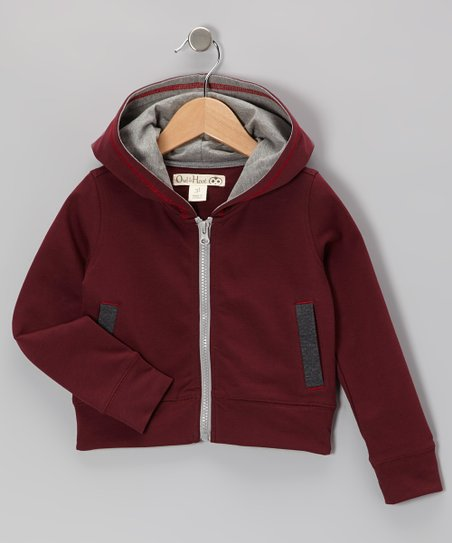 Maroon & Dark Gray French Terry Zip-Up Hoodie - Toddler & Kids