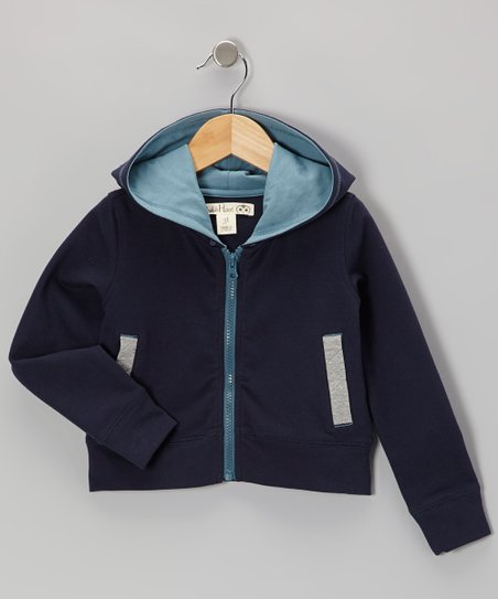 Navy & Light Gray French Terry Zip-Up Hoodie - Toddler & Kids