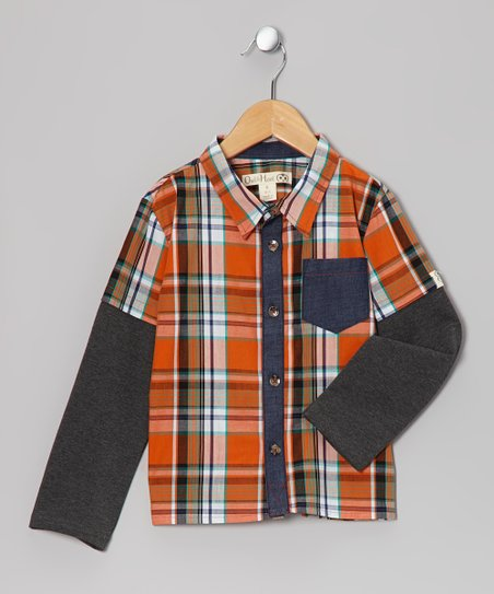 Orange & Navy Plaid Layered Button-Up - Toddler & Kids