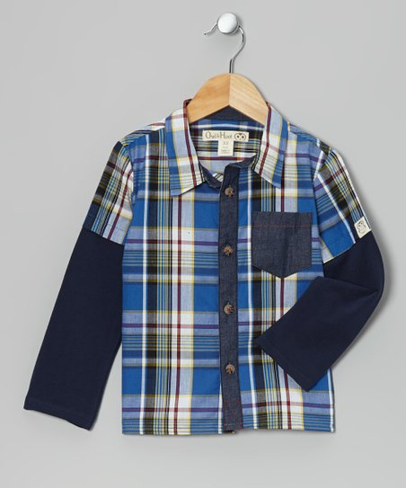 Blue & Red Plaid Layered Button-Up - Kids