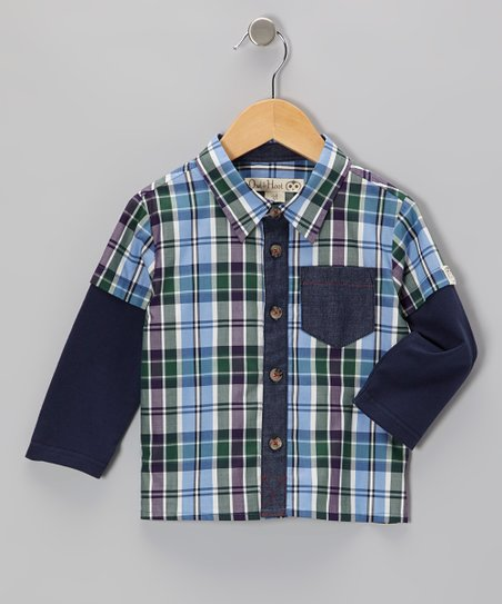 Blue & Green Plaid Layered Button-Up - Toddler & Kids