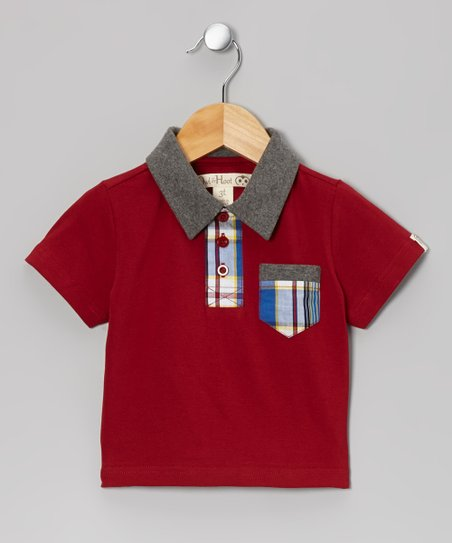 Dark Red & Charcoal Plaid Pocket Polo - Toddler & Kids