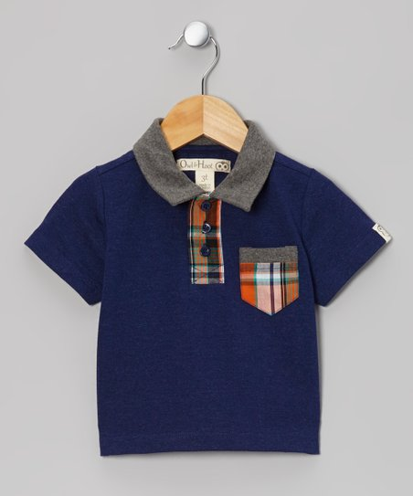 Dark Blue & Charcoal Plaid Pocket Polo - Toddler & Kids