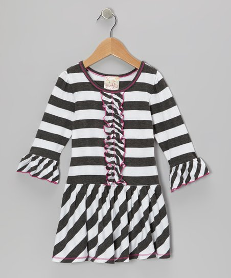Charcoal & White Stripe Ruffle Dress - Toddler & Girls