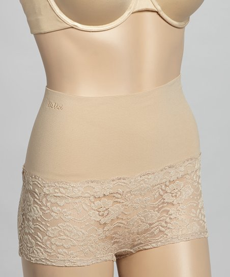 Nude Lace High-Waisted Shaper Boyshorts - Women