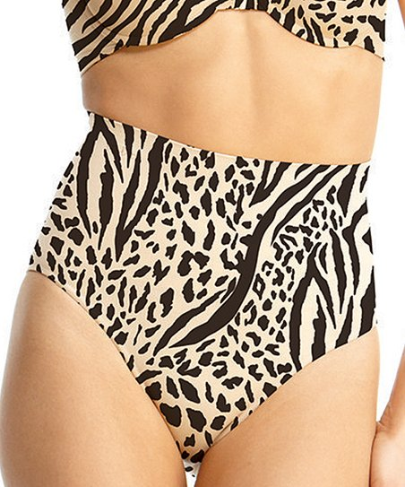 Black & Nude Zebra High-Waisted Shaper Briefs - Women