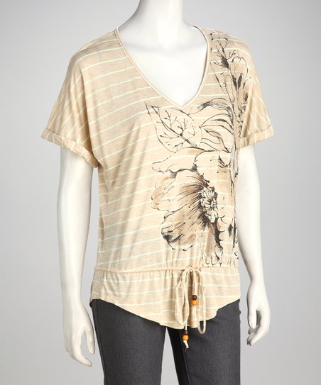Beige Floral Stripe Top