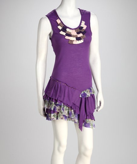 Purple Embellished Ruffle Dress