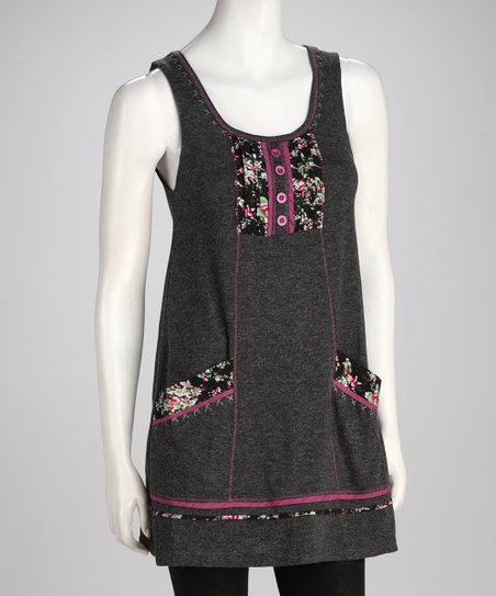 Charcoal Gray Patchwork Pocket Dress