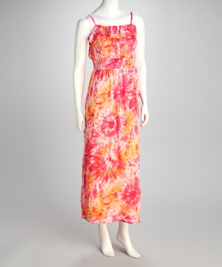 Coral Tie-Dye Maxi Dress