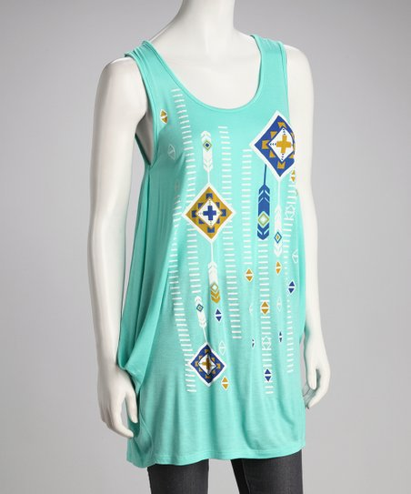 Turquoise Geometric Tunic