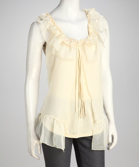 Cream Ruffle Tunic