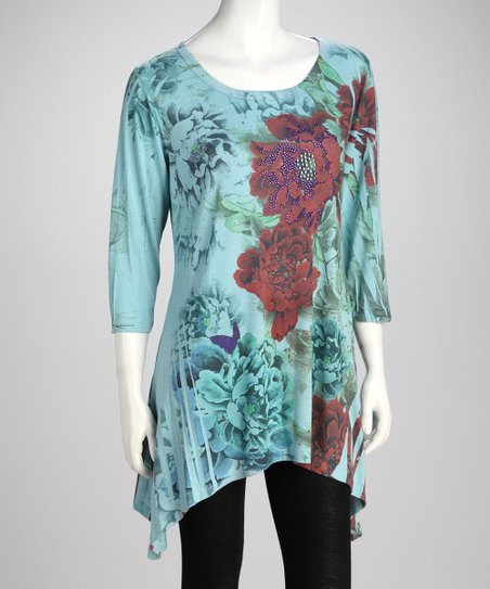 Blue Floral Sidetail Tunic