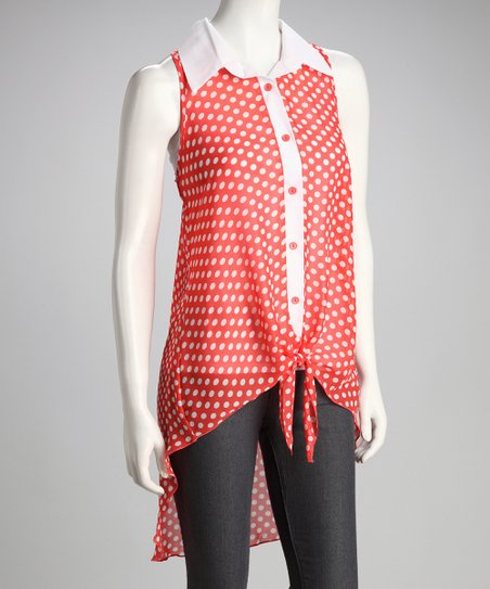 Coral Polka Dot Hi-Low Top
