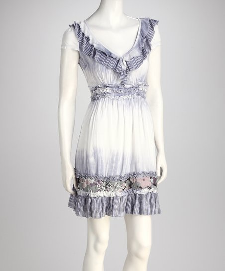 Gray Abstract Surplice Ruffle Dress