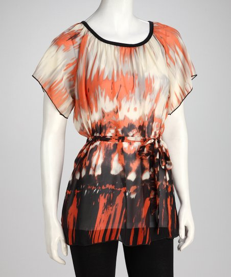 Coral Abstract Tunic